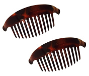 Parcelona French Alice Large Set of 2 Tortoise Sell Brown 13 Teeth Interlocking Side Hair Comb Combs