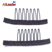 AliLeader 100pcs Black Wig Combs For Wig Cap 7 Teeth 3cm 2.1cm Steel Tooth Lace Wig Clips