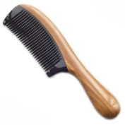 Sandalwood Hair Comb,Anti Static Natural Hair Detangling Comb - Handmade Wooden Handle Horn Comb
