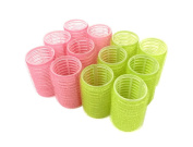 """12pc x 40mm (1-1/2"""") Self Grip Hair Rollers Pro Salon Hairdressing Curlers Large Tight Curt For Long Hair"""
