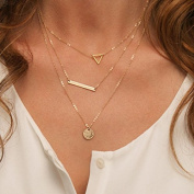 Leiothrix Fashion Alloy Necklace with Circle & Rrectangle Paillette Hollowed-out Triangle for Women and Girls Apply to Weeding Party Casual