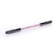 Yimart Pink Acrylic Permanent Embroidered Microblading Tattooing Pencil Eyebrow Makeup Eyebrow Tattoo Pen Both Head Can Be Used