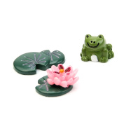 Techinal Fairy Garden Miniatures Set Cartoon Anime Frog & Lotus Leaf & Flower Micro Landscape DIY Figurines Crafts