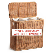 The Basket Lady Fabric Liner for 3-Compartment Wicker Laundry Hamper (LINER ONLY), One Section, Natural