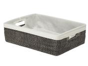 KOUBOO Rattan Shelf Basket with Liner, Black Wash