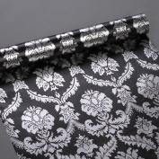 SimpleLife4U Silver Damask Contact Paper Decorative Black Shelf Drawer Liner Peel & Stick 43cm x 300cm by SimpleLife4U