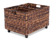 BirdRock Home Abaca Rolling Storage and Recycling Bin   Divided Decorative Cart   Kitchen   Paper Cans Glass Plastic Sorter   Toy Blanket Storage
