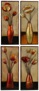 HobbitHoleCo Small Floral In Vase Metal Wall Décor, 15cm Wide by 38cm High, Set of 4