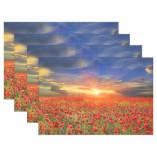 WOZO Sunset Beautiful Poppy Placemat Table Mat, Nature Landscape 30cm x 46cm Polyester Table Place Mat for Kitchen Dining Room Set of 6