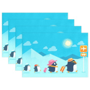 WOZO Penguin Family Travelling Placemat Table Mat, Summer Blue Sky Cloud 30cm x 46cm Polyester Table Place Mat for Kitchen Dining Room Set of 4