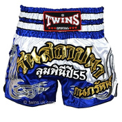 Twins Blue-White Muaythai Shorts