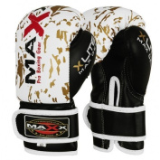 Maxx White/Gold adults boxing gloves Rex leather 240ml - 470ml