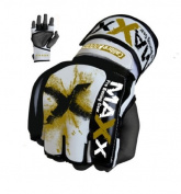 MAX Leather Gel Boxing Gloves UFC Gloves white/gold X med -Large