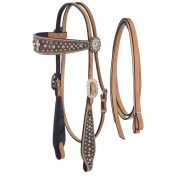 Silver Royal Midnight Run Cross Headstall and Reins Set w/ Inlay