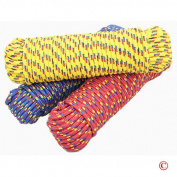 1cm x 30m Diamond Braided Polypropylene Rope, Multi-Colour (Various