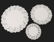 108 Pieces White Paper Doilies Lace Paper Round Doily Cake Box Liner Three Different Size by Aipleril