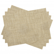 VEEYOO Placemats for Kitchen Dining Table Woven Vinyl Heat Insulation Stain-resistant Place Mats, Set of 4, Natural