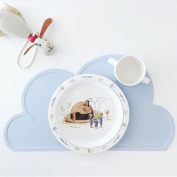 Light Blue Silicone Insulation Pad Kids Baby Dining Table Kitchen Cloud Placemats Place Mat