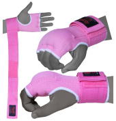 BOOM Prime Ladies Pink Inner Gel Gloves Hand Wraps MMA Fist Padded Bandages Martial Arts Mitts