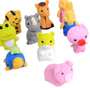 Singleluci Novelty Cute Animal Rubber Pencil Eraser Set Stationery Gift