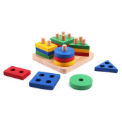 Wooden Educational Preschool Toys,Bagvhandbagro Stack & Sort Puzzle Colour and Shape Recognition Geometric Board Toys, for Age 3 4 5 Years Old and Up Kid Children Baby Toddler Boy Girl