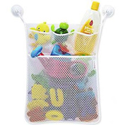 FANTASIEN Bath Toy Organiser Mesh Net Toy Storage Bag For Baby Boys Girls With Two Suction Cups, Multiple Pockets