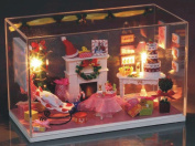Flever Dollhouse Miniature DIY House Kit Creative Room With Furniture and Cover for Romantic Valentine's Gift