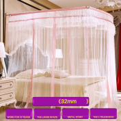 Household U-shaped Telescopic Mosquito Nets Three-door Double Stainless Steel Bracket Mosquito Net 4 Colours ( Colour : A-Pink , Size : 1.8M