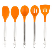 Allrecipes Stainless Steel & Heat Resistant Silicone Tool Set, 5 Piece