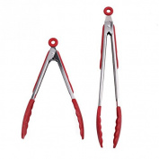 BESTOMZ Silicone Kitchen Grips Set 30cm and 23cm Stainless steel Locking Tongs