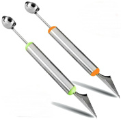AKOAK 2 Pcs Dual-Purpose Stainless Steel Melon Baller and Fruit Carving Knife,2 in 1 Kitchen Tool for Making Melon Ball and Fruit Carving or ice Cream Scooper
