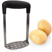 Stainless Steel Potato Masher with Wide Ergonomic Handle and Fine-Grid Mashing Plate by bogo Brands