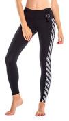 Glidesoul Women's Vibrant Stripes Collection 1mm Neoprene Leggings, Black/Stripes, Small