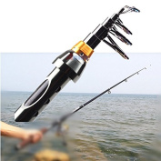Extended 2.1m Portable Carbon Fibre Telescope Fishing Rod Travel Spinning Pole