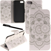 iPhone 7 Case, Urvoix Card Holder Stand Leather Wallet Case - White Flower Flip Cover for 12cm iPhone 7