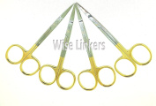 Set of 4 Scissors 11cm STRAIGHT Gold Plated handle Dental Surgical art and craft Scissors BY Wise Linkers