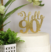 All About Details Gold Hello 90! Cake Topper