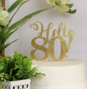 All About Details Gold Hello 80! Cake Topper