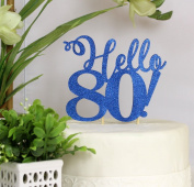 All About Details Blue Hello 80! Cake Topper
