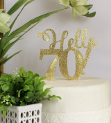 All About Details Gold Hello 70! Cake Topper