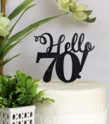 All About Details Black Hello 70! Cake Topper