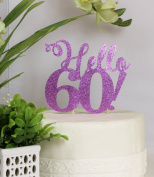 All About Details Purple Hello 60! Cake Topper