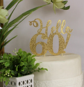 All About Details Gold Hello 60! Cake Topper