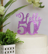 All About Details Purple Hello 50! Cake Topper