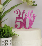 All About Details Pink Hello 50! Cake Topper