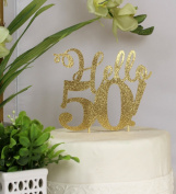 All About Details Gold Hello 50! Cake Topper