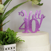 All About Details Purple Hello 40! Cake Topper
