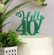 All About Details Green Hello 40! Cake Topper