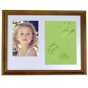Hense Baby Hand And Footprint Photo Frame Kit With Classical Style , Memorable Keepsakes Decorations for Room Wall or Table Décor, Premium Clay & Wood Frames