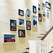 NAUY- Stairs photo wall Frame wall Simple modern woody European style photo wall Creative frame wall combination